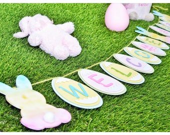 Easter banner, easter, personalized, baby, party, banner, easter bunny, custom, easter decorations, bunny, silhouette, party supplies