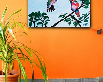 Picture, Hummingbirds <3 Birds,  for Home & Office Decoration.  Canvas, Acrylic. Handmade- 100%