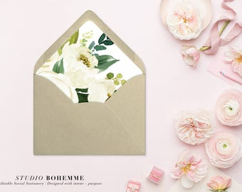 Printable Envelope Liner, Floral Liner, Envelope Liners, Envelope Liner Template, DIY Envelope Liner, INSTANT DOWNLOAD, 7 Sizes - Alexa