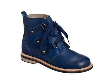 Blue Leather Tie Shoes / Oxford Shoes / Women Boots / Lacing Shoes / Dress Shoes / Casual Shoes / Flat Ankle Boots / Antelope Shoes - 264