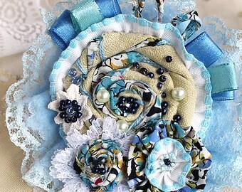 Light Blue Boho Style Brooch, Boho Style Brooch, Boho Brooch, Fabric Brooch, Handmade Brooch, Handmade Boho Brooch, Handmade Brooch, Flower