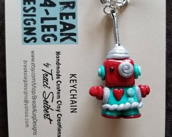 Retro Robot Handmade Custom Clay Keychain