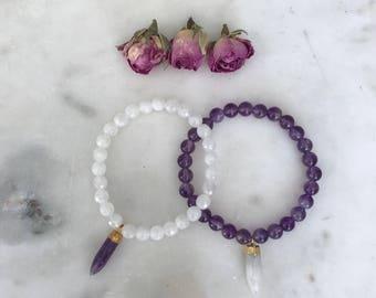 Moonstone & Amethyst Combo Healing Bracelets