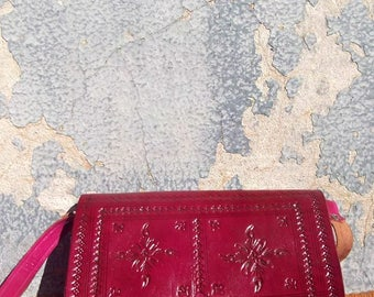 Small Pink Handmade Moroccan Embossed Leather Cross Body Messenger Bag