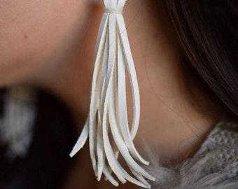 Long Leather Tassel Earrings - White Leather Earrings - Fringe Earrings - Tribal Earrings