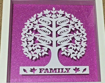 Personalised Family Tree Frame - Framed Family Tree - Mothers Day Gift, Parents gift, Grandparents, Anniversary Customised