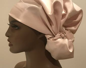 Elegant champagne satin head and neck scarf, wedding accessories, women's scarves, women's gifts