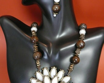 Brown Beaded Necklace & Earring set with a White Flower Pendant
