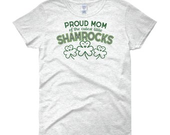 St Patrick's Day Womens Shamrock Shirt-Mom of Three Irish Mother Gift-Saint Paddys Day Parade-Proud Mommy Tee-Women's Short Sleeve T-Shirt