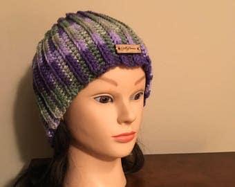 Women's Purple/Green Beanie