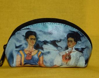 Frida Kahlo Pouch, Lipstick pouch, Frida Kahlo coin pouch, zippered coin pouch, leather coin pouch