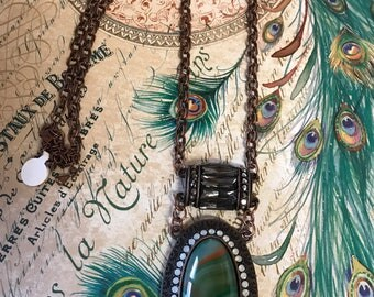 Statement necklace, green, bronze, Smokey glass,long necklace, Victorian