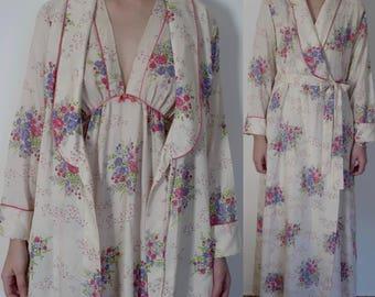 1970s Christian Dior B. Altman floral peignoir set dressing gown robe nightgown