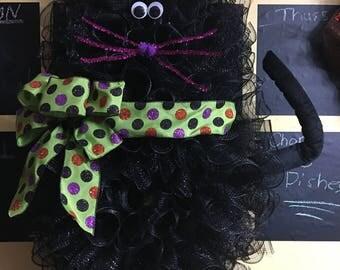 Halloween Cat inspired Deco Mesh Wreath