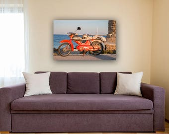 Old Motorcycle Photography, Sea Decor And Art, Old Motorcycle Poster, Digital Download Print, Motorcycle Wall Art, Living Room Art