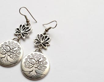 Tree of Life with Lotus Earrings