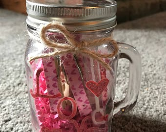Valentine's Day Mason Jar Glass with handle