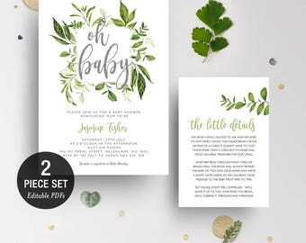 INSTANT DOWNLOAD Greenery Leaves Oh Baby Shower Invitation Printable Template - Glitter Silver - BONUS Detail Card