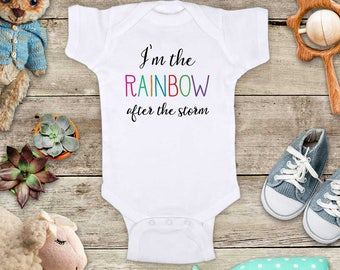 I'm the RAINBOW after the storm - funny cute baby bodysuit baby shower gift - Made in USA - toddler kids youth shirt