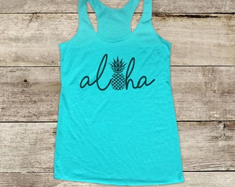 Aloha Hawaii Pineapple Beach - ocean sun fun surf - Bachelorette Soft Tri-blend Soft Racerback Tank fitness gym yoga running exercise shirt