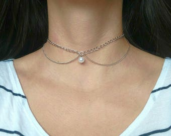 Pearl Chain Choker, Collar, Silver Colored Choker, Wedding Jewelry, Bridesmaids Jewelry, Bridesmaid Proposal,