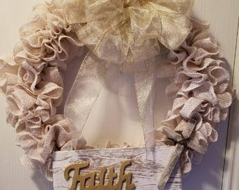 Faith Burlap Wreath