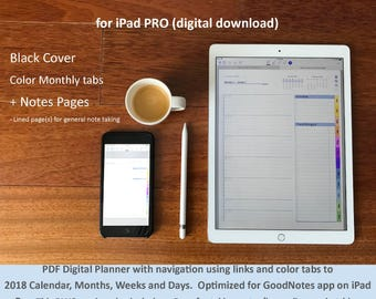 2018 Full Page Planner for iPad PRO GoodNotes app: color tabs, links and bookmarks to Calendar, Months, Weeks and Days. BLACK Cover +NOTES