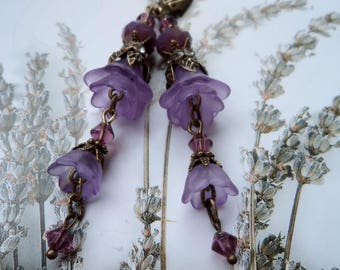 Lucite flower earrings, victorian earrings, boho earrings,  purple  earrings, dangle earrings, earrings gift