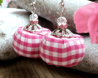 Pink white plaid cotton fabric earrings,  Big fabric bead earrings, Different earrings, Unique earrings
