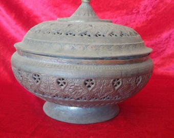 Perfect Shape Antique Ottoman Style Vintage Hand Made Brass Sugar Basin #SK1