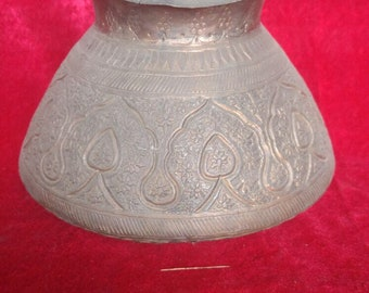 Hand Crafted Engraved Ottoman Antique Style Copper Pot / Lota  #1362
