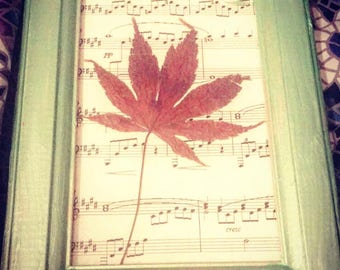Metallic Framed Dried Japanese Leaf