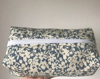 Handmade blue and white floral print fully lined make up bag
