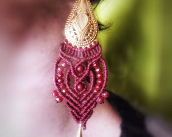 Micro macrame boho style earrings, hippie,  gipsy ,gold, Bordeaux ,Indian style, by Chrysa's hands