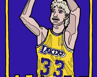 Larry Bird, Los Angeles Lakers Boston Celtics NBA, illustration, drawing
