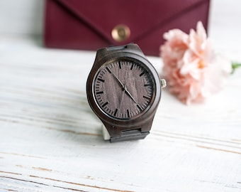 Black Watch Groomsmen,Minimalist wood watch,Eco wood watch,Black Wood Watch,Wooden watch Men,Mens wood Wristed watch,Handcrafted wood watch
