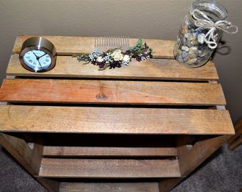 Nightstand / Bedside Table- Wood Crate