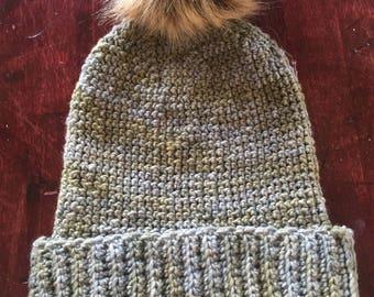 Crochet Pom-pom Hat - Neutral Blue/Green
