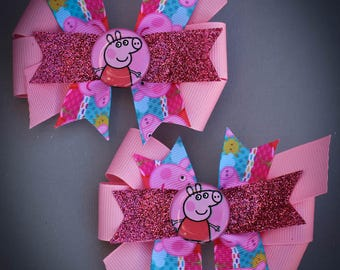 Peppa Pig Bows, Set of 2 Peppa Pig Bows, Peppa Pig Tail Bows, Peppa Pig Birthday Bows, Peppa Pig Hair Bows, Peppa Pig Party Bows, Peppa Pig