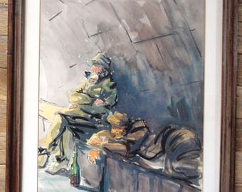 Abstract Watercolor Fishermen Signed Listed Artist Jose Jordana from Spain
