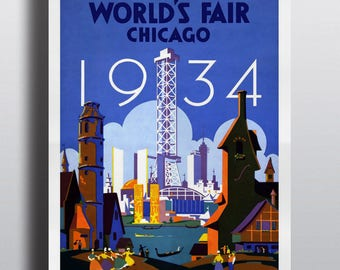 World's Fair Chicago 1934, Tour the World at the Fair - Vintage Advertising Poster Print