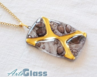 "Necklace - pendant handmade bubble brown with gold, rectangle ""X"""