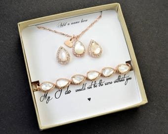 Bridesmaid Earrings Bridesmaid Jewelry Gold Bridesmaid Gift Set Bridal Jewelry Set Bridal Earrings Gold pearl bridesmaid bracelet set 4 5 6