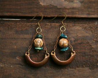 Vintage Assemblage Earrings Relaimed Statement Brass Drop