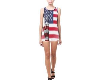 USA Peace One Piece Boyleg Swimsuit- Women (4 colors)