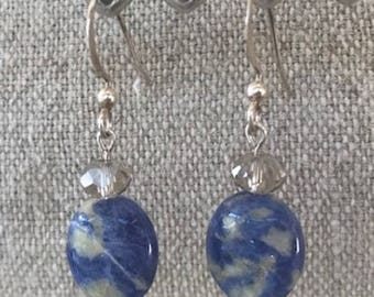 Sodalite, swarovski and sterling earwires Blue crystal accents oval dangle