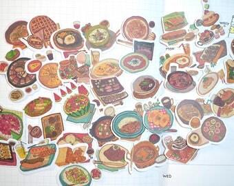 38pc Yummy Food Stickers  , Scrapbook Supplies