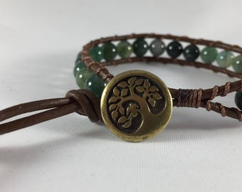 Leather Wrap Bracelet With Moss Agate Beads