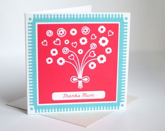Thanks mum card mothers day card card for mum card for mother card for mummy thank you mum card for mom mothering sunday cards (bk28)