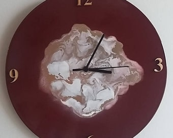 Upcycled Clock - Red, Gold, White